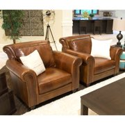 Paladia 2-Piece Set Top Grain Leather Accent Chairs in Rustic
