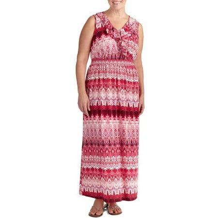Faded Glory - Faded Glory Women\'s Plus-Size Ruffled Maxi Dress ...
