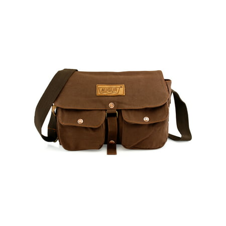 Men S Vintage Canvas Leather Satchel School Military Shoulder Messenger Crossbody Hiking Bag