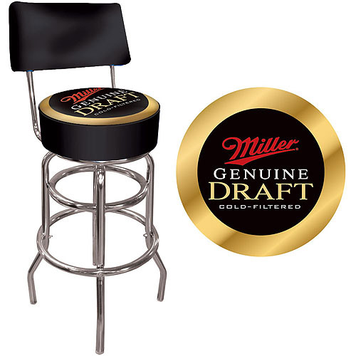 "Trademark Miller Genuine Draft 40"" Padded Bar Stool with Back, Chrome"