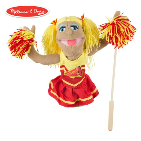 "Melissa & Doug Cheerleader Puppet with Detachable Wooden Rod (Puppets & Puppet Theaters, Animated Gestures, Inspires Creativity, 15"" H x 5"" W x 6.5"""