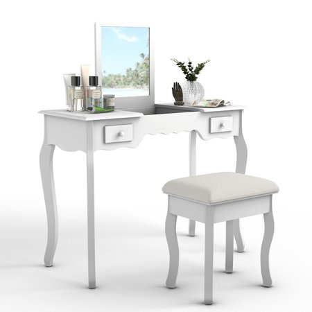Costway Vanity Dressing Table Set Mirrored bathroom W/Stool Table Desk White