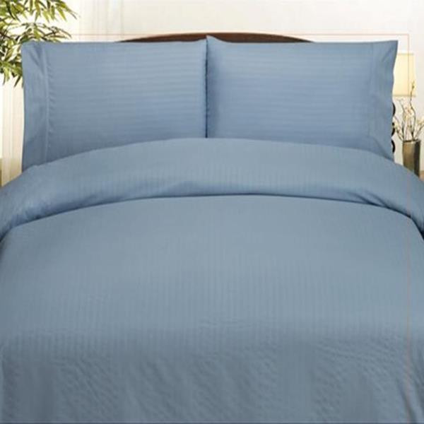 Embossed Dobby Stripe Microfiber Bed In A Bag Set Queen King - Light Blue
