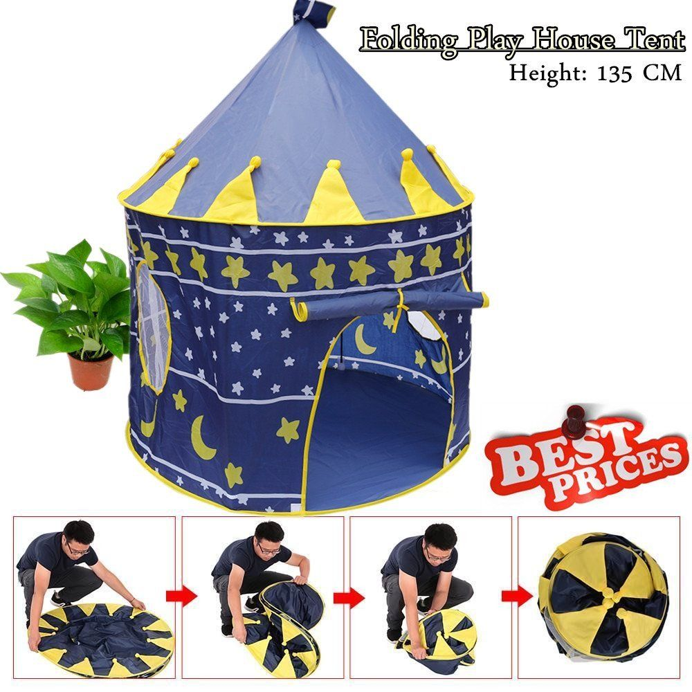 Portable kids play tent Folding Pop Up Play Tent Girls Kids Princess Castle Outdoor Play House锛孊lue