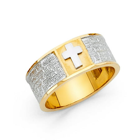 FB Jewels 14K White and Yellow Gold Ring Two Tone Cubic Zirconia CZ Lords Player Size (Precious Ring Lord Of The Rings Quote)
