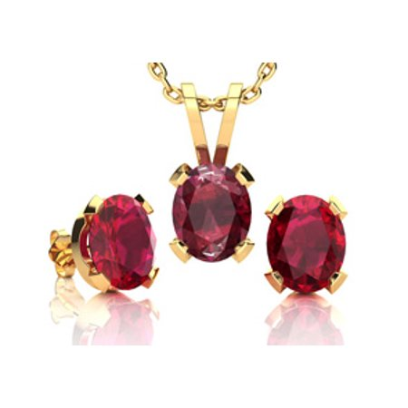 1 2/3 Carat Oval Shape Ruby Necklace and Earring Set In 14K Yellow Gold Over Sterling Silver