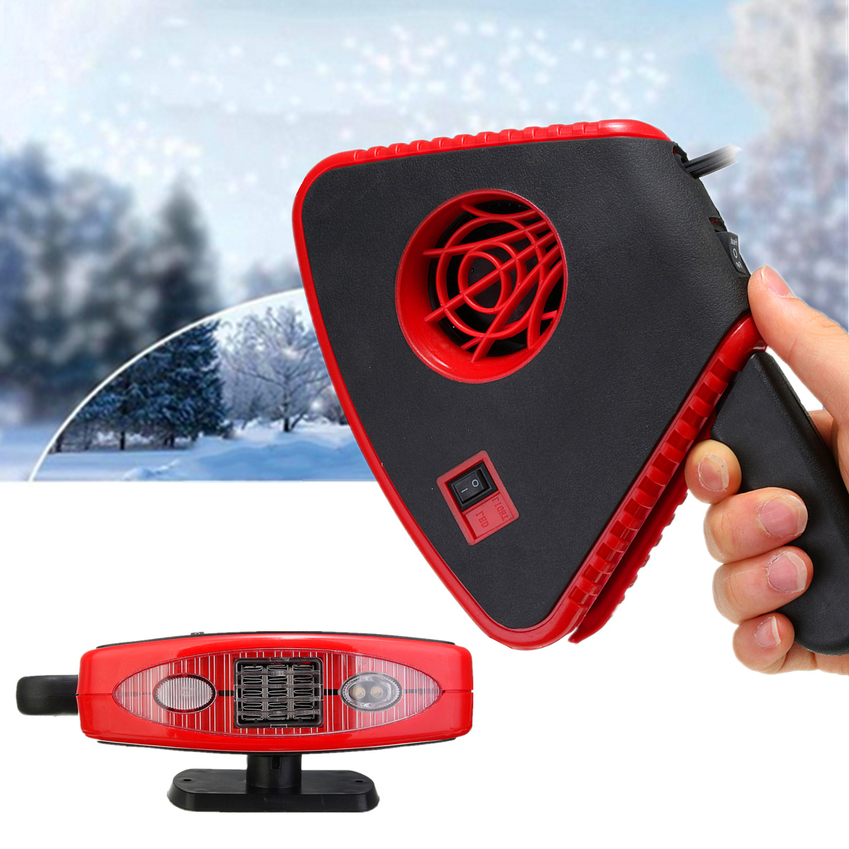 200W DC 12V Car Automatic Instant Heater Defroster Cooling Fan With 2 LED Light