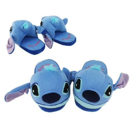 Stitch Light Blue Colored Plush House Slippers (Size 9-10 Mens)](Disney Slippers)