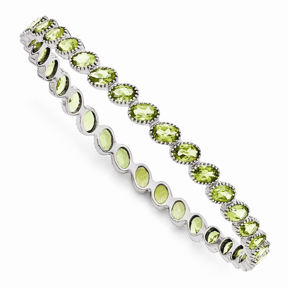 Sterling Silver Rhodium plated Round Peridot Slip On Bangle Bracelet by Jewelrypot