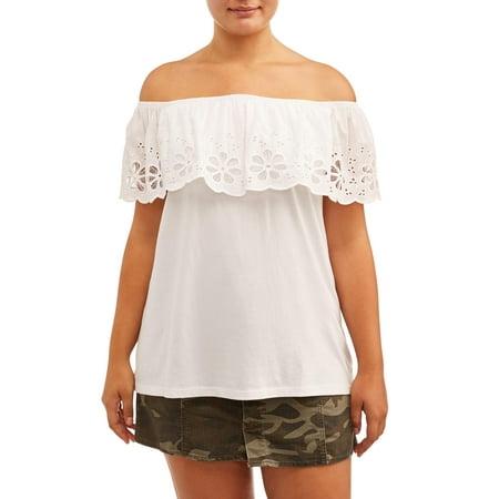 Paper Tee Juniors' Plus Size Eyelet Off-Shoulder Blouse (Plus Size Junior Shirts)