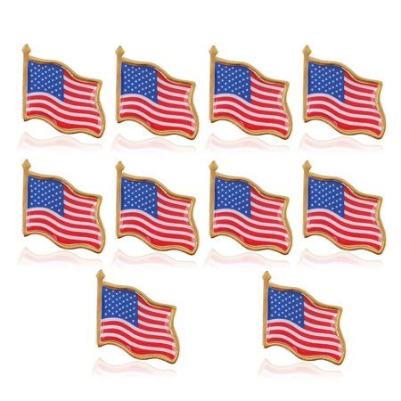 10pcs American Flag Lapel Pin USA Flag Hat Tie Lapel Pin Badge