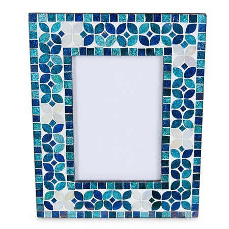 Elements 8.5 Inch Blue Glass Mosaic 4 Inch X 6 Inch Picture Frame