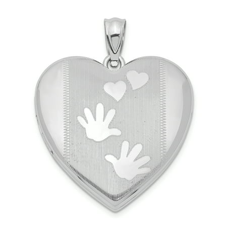 925 Sterling Silver Handprints Heart Photo Pendant Charm Locket Chain Necklace That Holds Pictures Gifts For Women For Her ()
