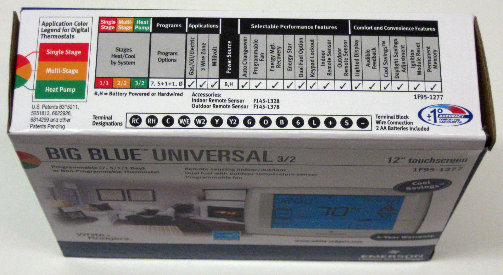 """White Rodgers 1F95-1277 Emerson Big BLUE 12/"""" Touchscreen Programmable Thermostat"""