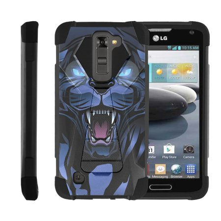 Panthers Cell - TurtleArmor ®   For LG K8   LG Escape 3   LG Phoenix 2 [Dynamic Shell] Dual Layer Hybrid Silicone Hard Shell Kickstand Case - Fierce Panther