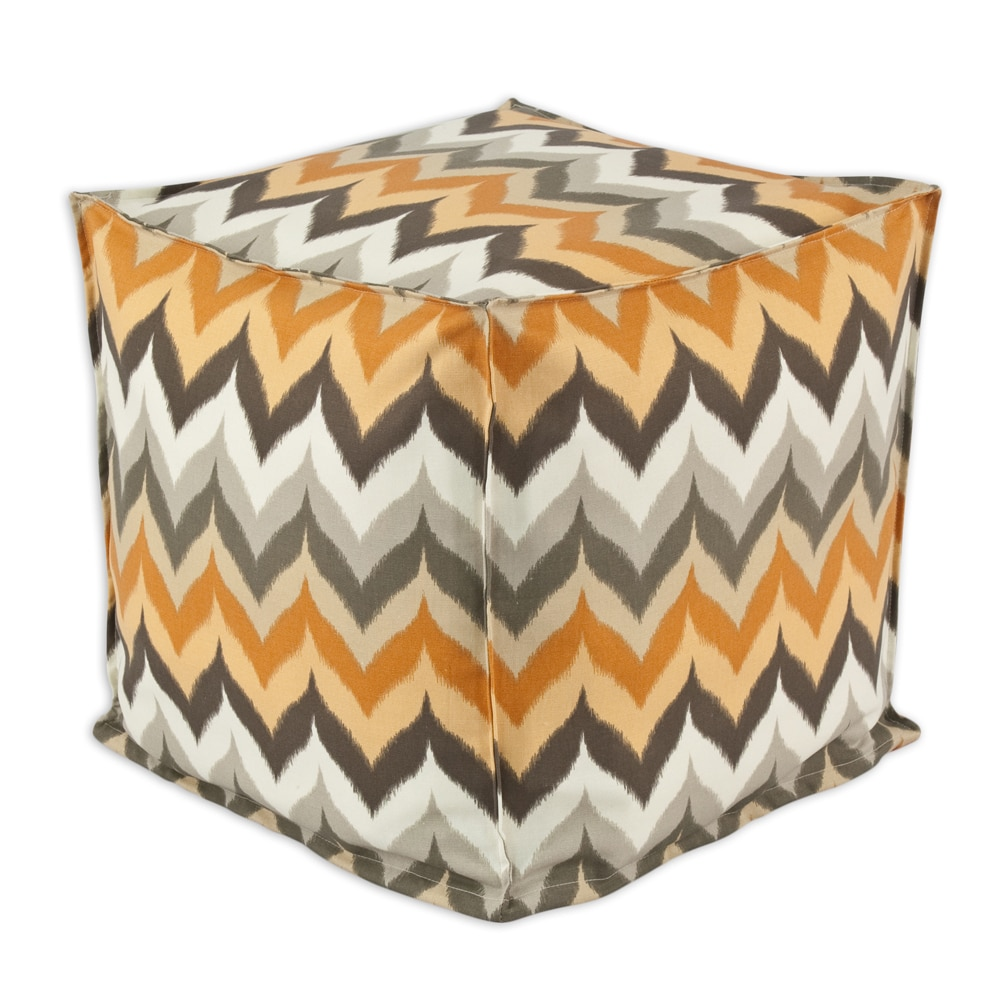 Brite Ideas Living Gant Paramount Copperstone Grey Orange 12.5 inch Square Seamed Beads Footstool by Brite Ideas Living