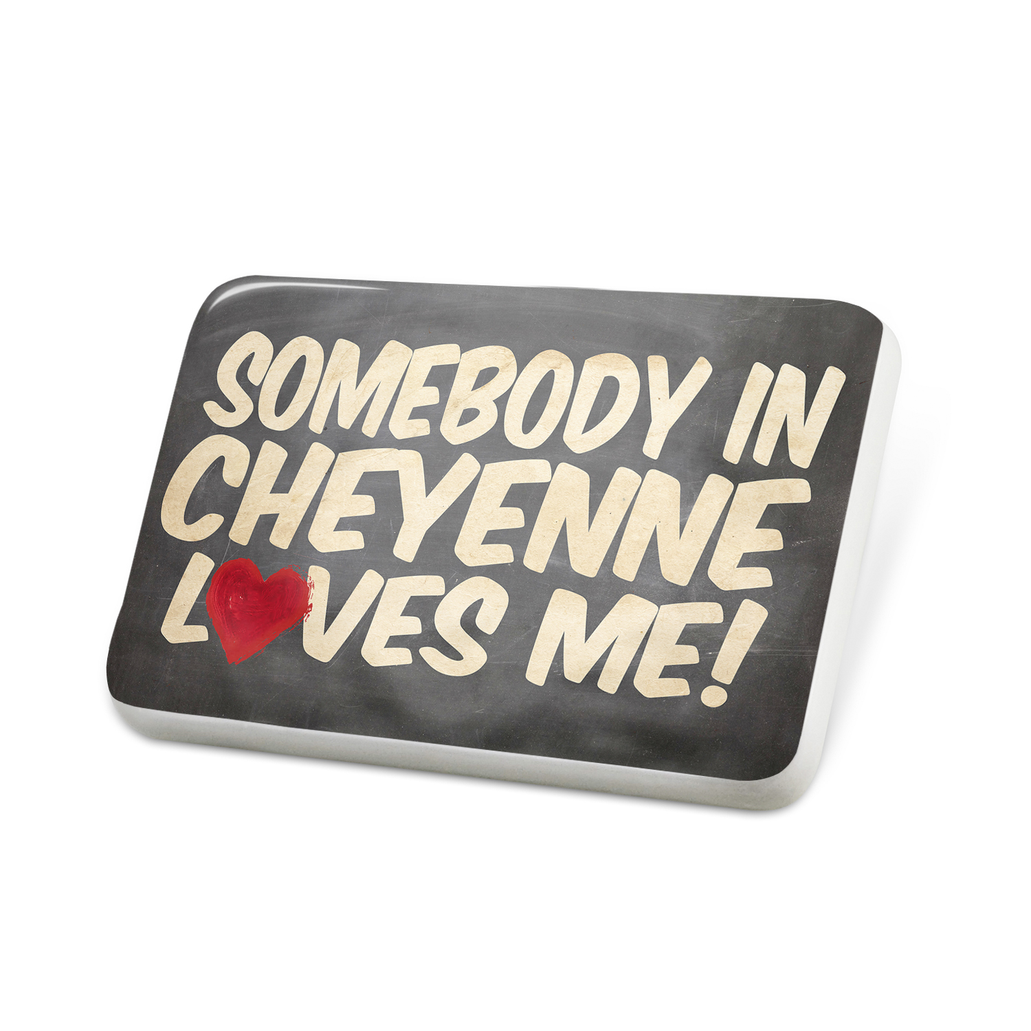 Porcelein Pin Somebody in Cheyenne Loves me, Wyoming Lapel Badge – NEONBLOND