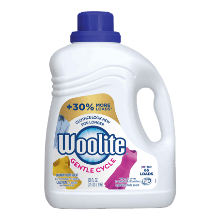 Allens Naturally Detergent - Woolite GENTLE CYCLE Liquid Laundry Detergent, 100oz Bottle, With Color Renew, HE & Regular Washers