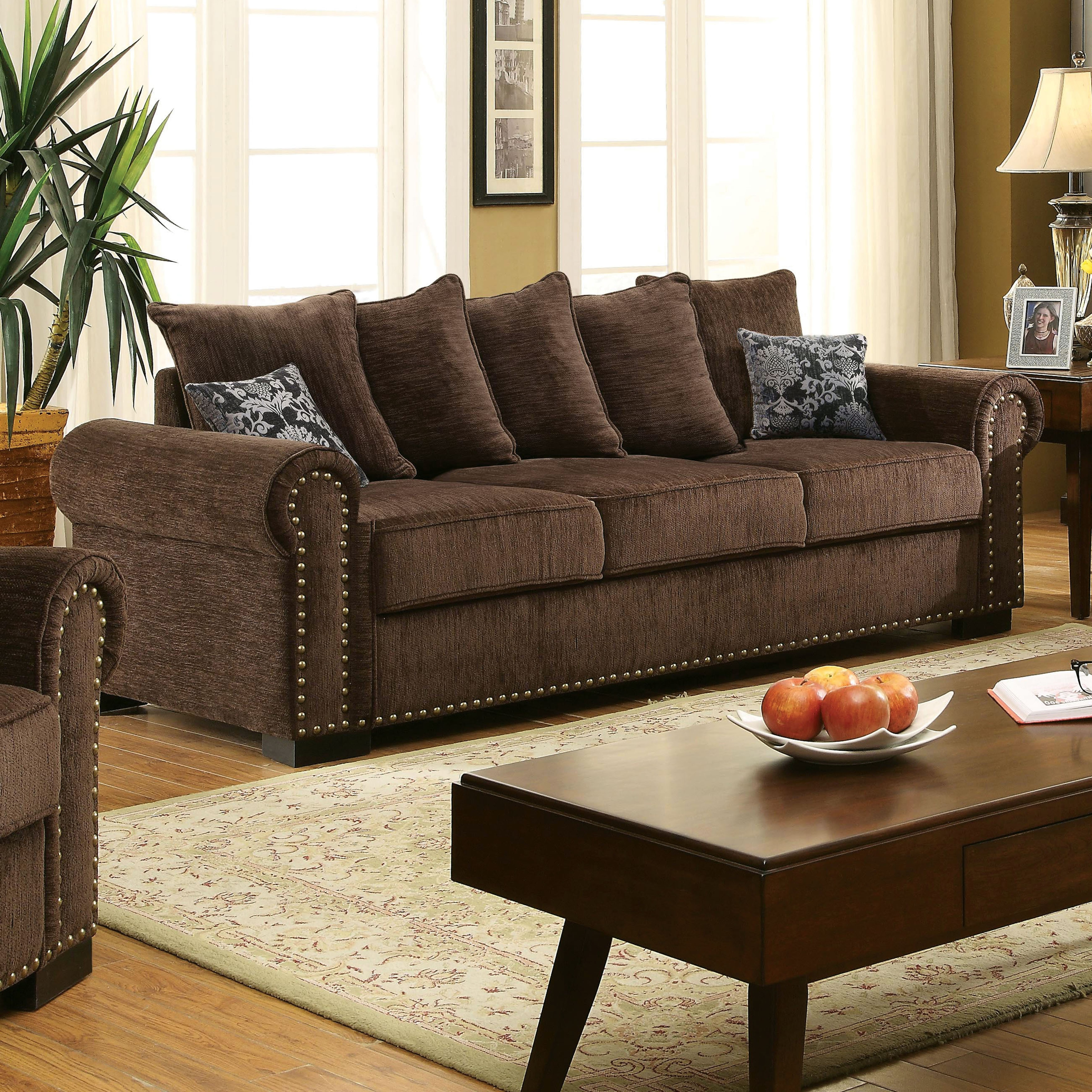 Furniture of America Pana Transitional Brown Sofa by FOA