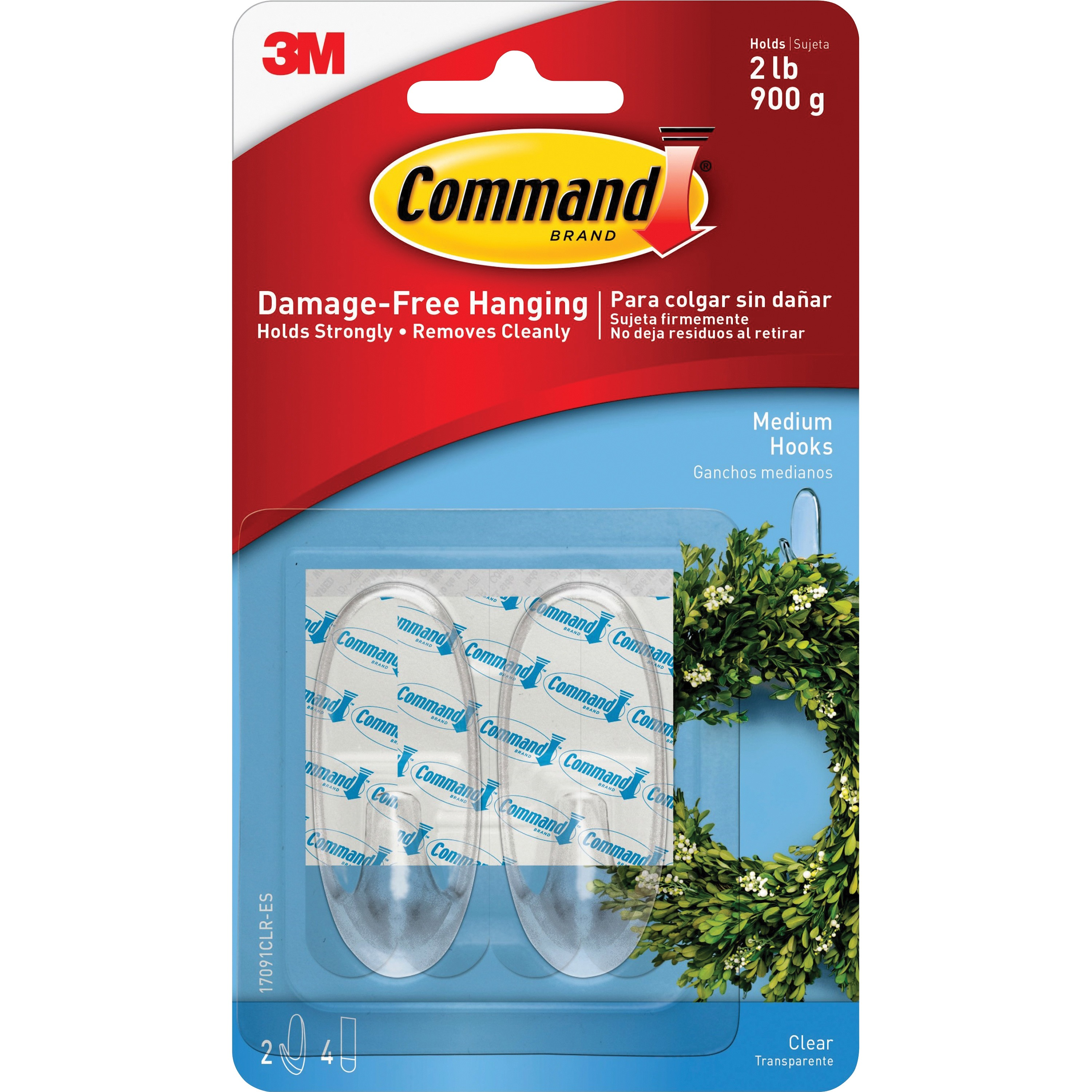 Command Hooks, Clear, Medium, 2 Hooks, 4 Strips/Pack