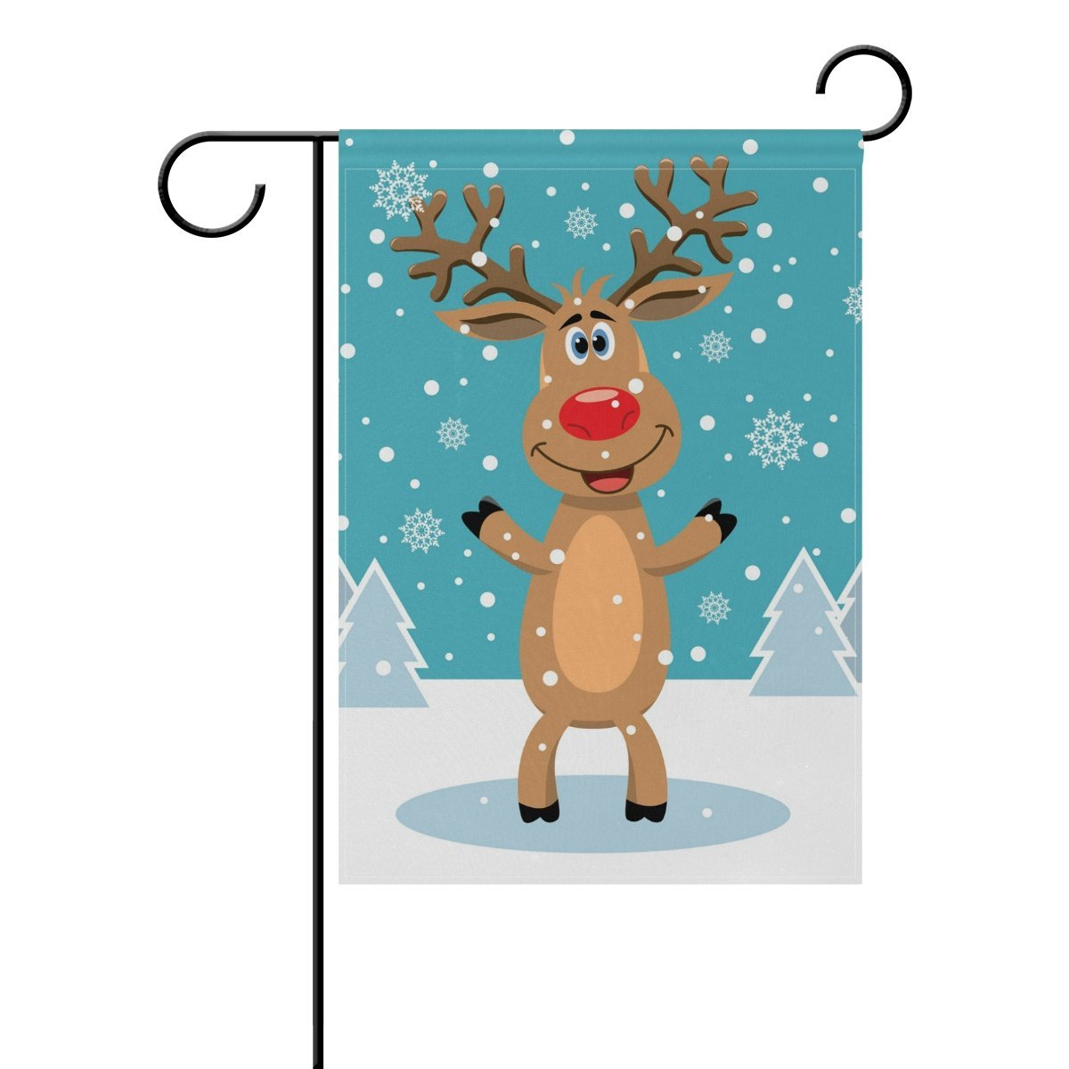 POPCreation Rudolph Snow Trees Polyester Garden Flag Outdoor Flag Home Party Garden Decor 28x40 inches