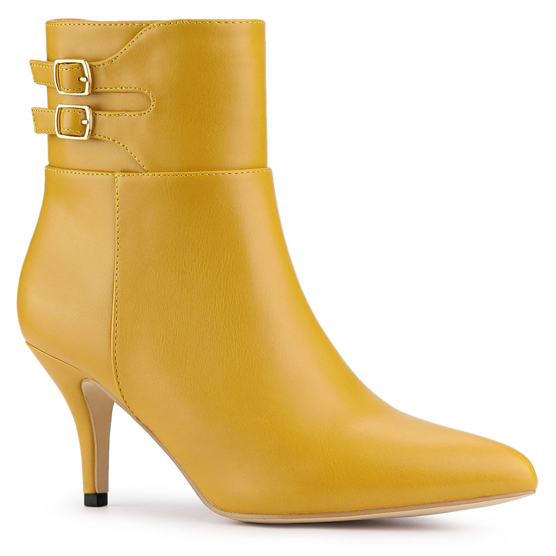 Details about  /Womens Pointed Toe Mid Block Heels Buckle Ankle Boots Casual Booties Shoes Size