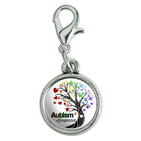 - Autism Acceptance Tree of Life with Hearts Antiqued Bracelet Pendant Zipper Pull Charm with Lobster Clasp