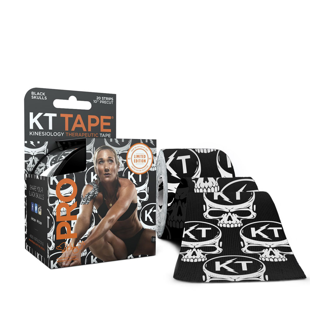 KT TAPE PRO Elastic Kinesiology Therapeutic Tape, 20 Precut 10 Inch Strips, Black Skulls