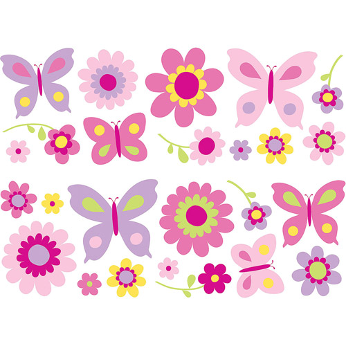 Fun4Walls Butterfly and Flowers Wall Decals