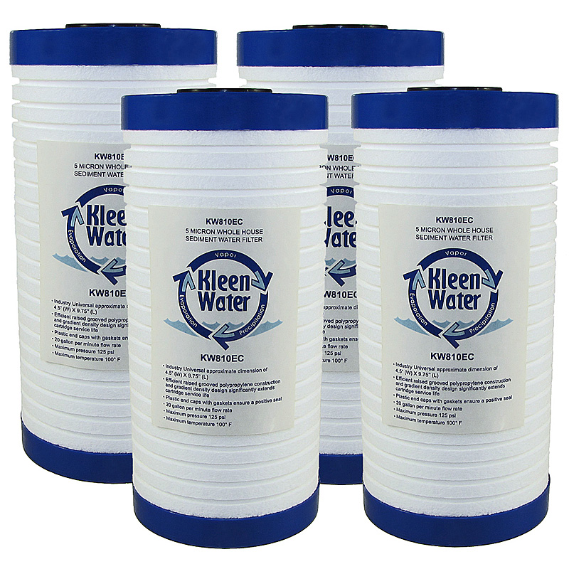 KleenWater KW810EC Grooved Sediment Water Filter Cartridge, 4-Pack
