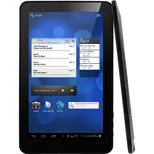 """EMATIC eGlide XL PRO II 10"""" 1024x600 4GB 1GHz Dual Core Android 4.0 Tablet - Black (New - Open Box)"""