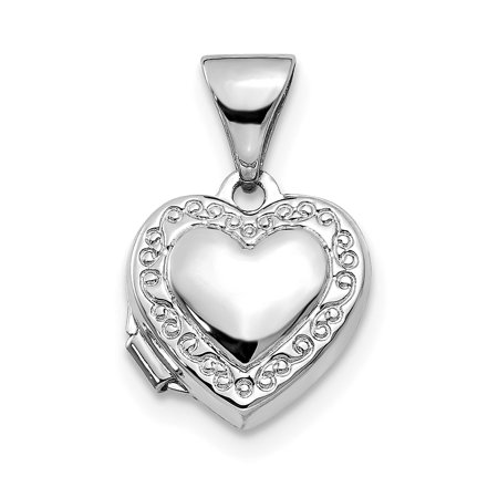 14K White Gold Polished Heart-Shaped Scrolled Locket - image 3 de 3