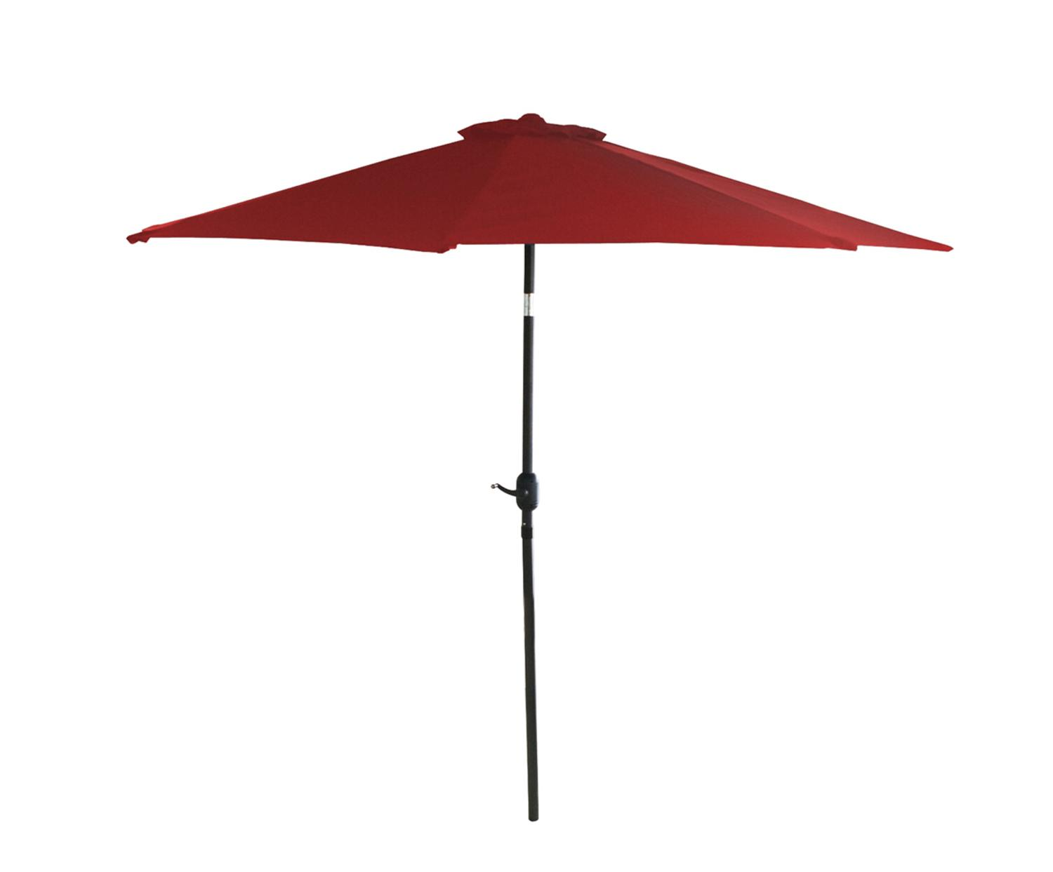 9' Outdoor Patio Market Umbrella with Hand Crank and Tilt Red and Black by LB International