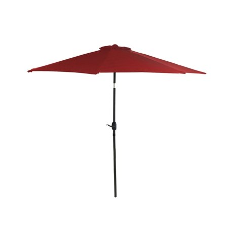 9 Outdoor Patio Market Umbrella With Hand Crank And Tilt   Red And Black