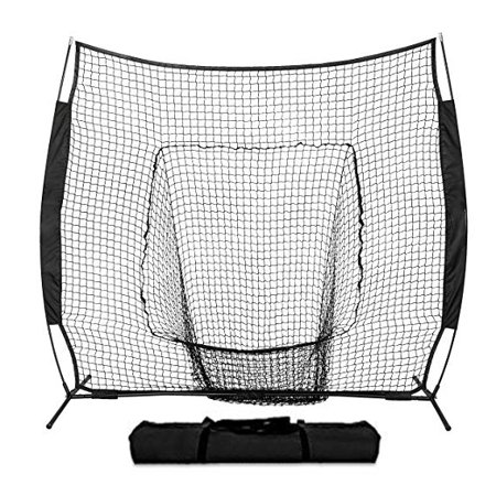 Ktaxon 7' x 7' Portable Baseball Pitching Net Training, Softball Goal with Bow Frame, Carry Bag, for Hitting Batting Practice, Black