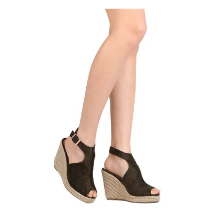 1c2adfb212b3 Refresh - Women Faux Suede Espadrille Wedge - Casual