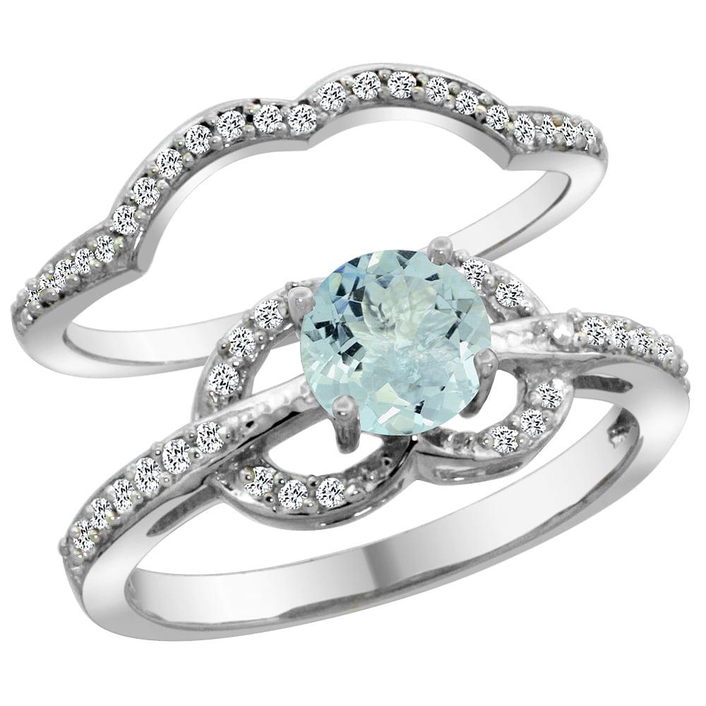 14K White Gold Natural Aquamarine 2-piece Engagement Ring Set Round 6mm, size 5.5 by Gabriella Gold