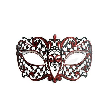 Metal Venetian Black With Red Half Mask