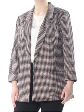 NINE WEST Womens Maroon Darted Pocketed Herringbone Blazer Wear To Work Jacket Plus  Size: 1X