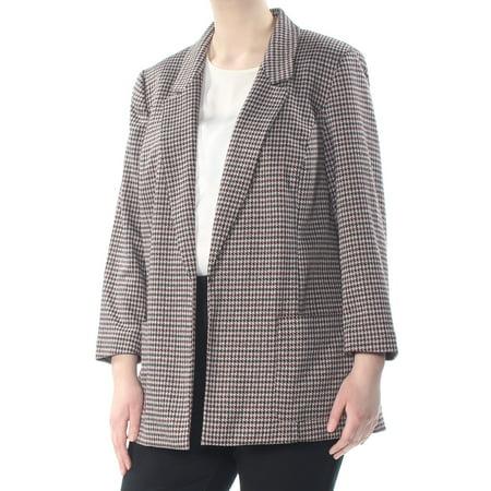 NINE WEST Womens Maroon Darted Pocketed Herringbone Blazer Wear To Work Jacket Plus  Size: 1X Polyester Suit Jacket