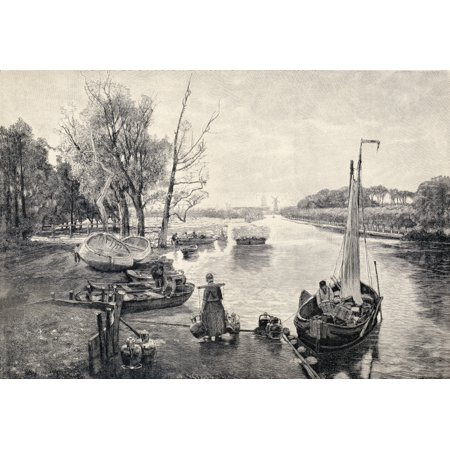 A Dutch Canal From A 19Th Century Print From Die Gartenlaube Published 1905 Stretched Canvas - Ken Welsh  Design Pics (17 x 12)