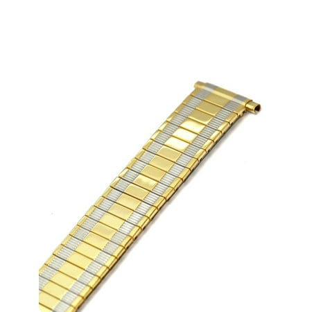 18-22MM EXTRA LONG TWO TONE TWIST O FLEX EXPANSION STRAP WATCH BAND Banks Two Tone Watch