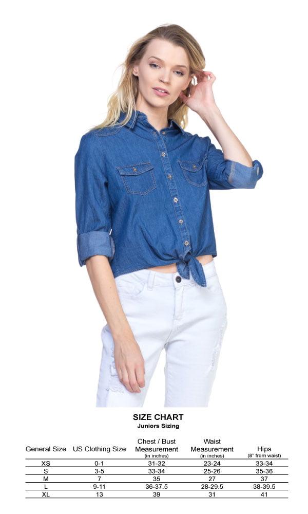 cd74734d112 OFASHIONUSA Women s Front Tie Roll Up Denim Chambray Blouse Shirt Top  (DarkDenim