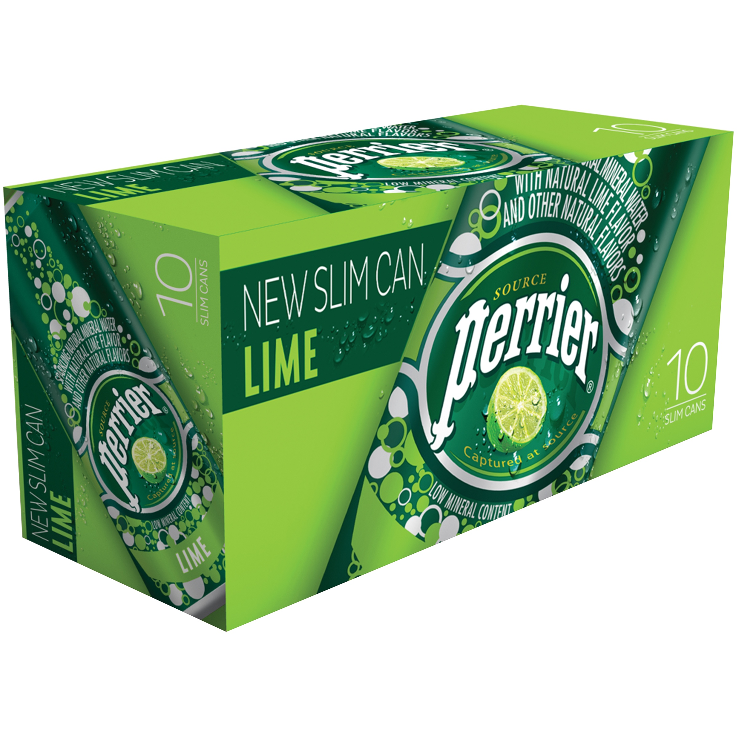 PERRIER Sparkling Natural Mineral Water, Lime 8.45-ounce Slim Cans (Pack of 30)