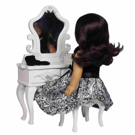Swell 18 In Doll Furniture White French Wooden Vanity Table Velvet Covered Stool Home Interior And Landscaping Ologienasavecom