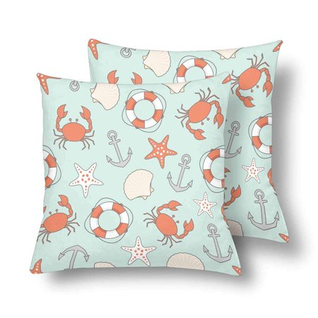 GCKG Sea Beach Pattern Lifebuoy Anchor Shell Starfish Crab Pillowcase Throw Pillow Covers 18x18 inches Set of 2 - image 3 de 3