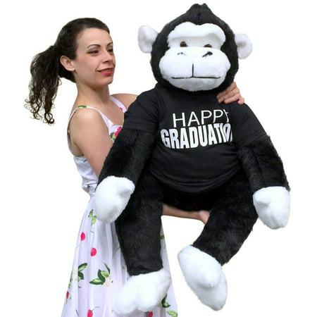 Happy Graduation Giant Stuffed Gorilla 40 Inch Big Plush Soft Plush Monkey made in USA (Big Stuffed Monkey)