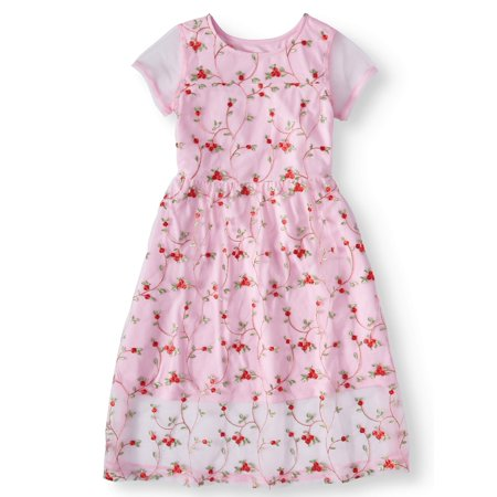 Embroidered Mesh Dress (Little Girls, Big Girls & Big Girls Plus) - Plum Girls Dresses
