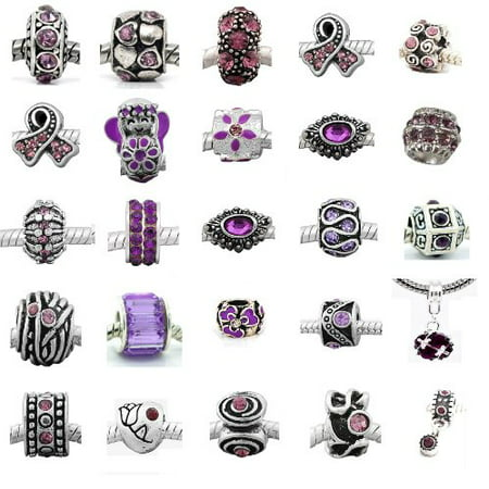 Ten (10) of Assorted Shades of Purple Crystal Rhinestone Charm Beads. Compatible With Pandora Style Bracelets. ()