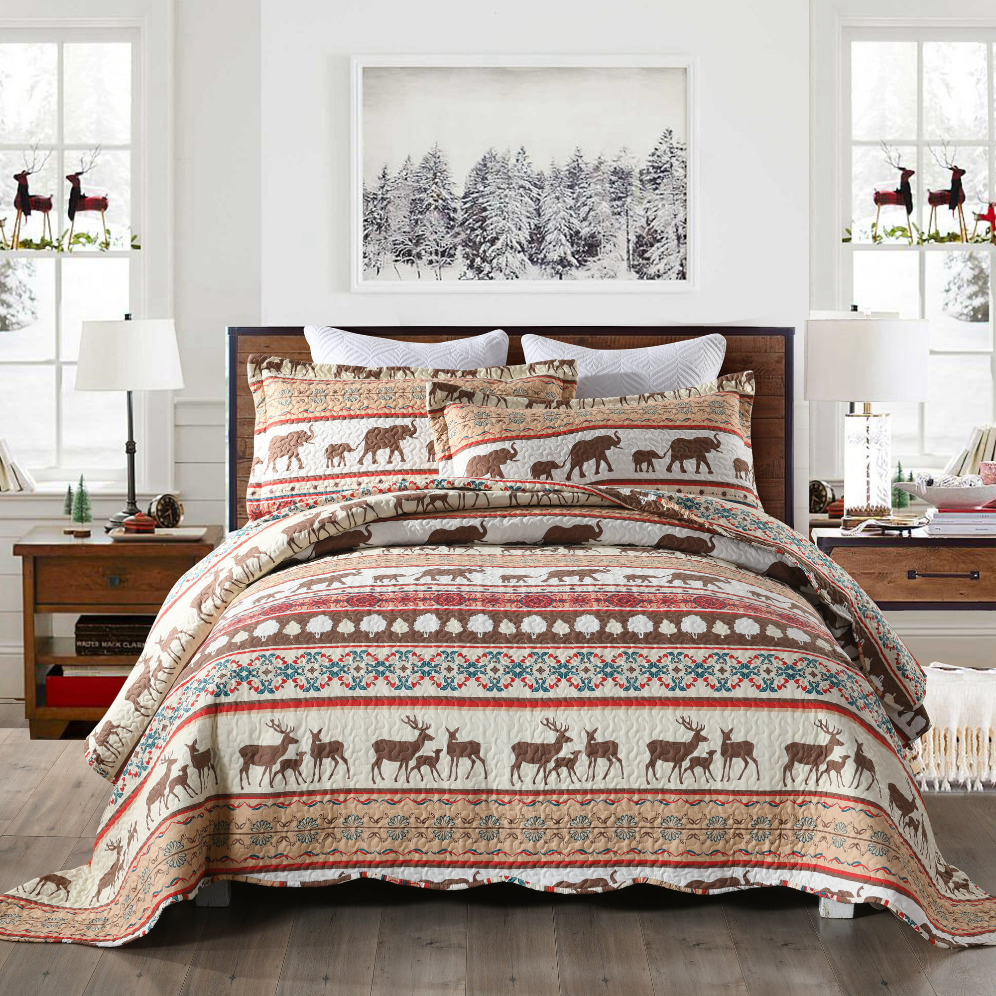 Christmas Rustic Lodge Deer Cotton Reversible Quilt Set Coverlet Bedspread